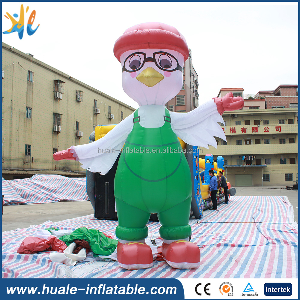 2017 China hot sale giant glasses and pigeon model inflatable cartoon characters for sale