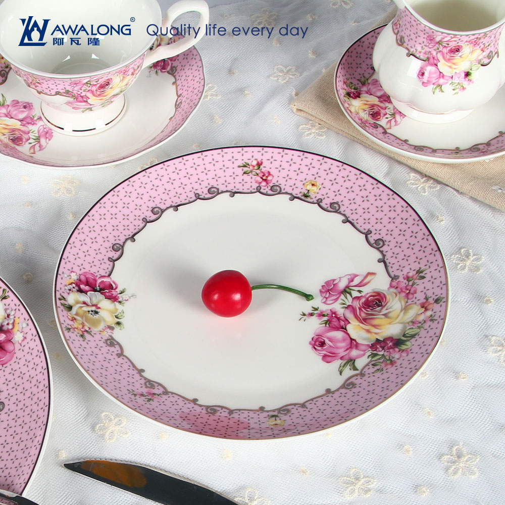 royal half decal design tableware household porcelain reusable dinnerware with pink rose flower pattern