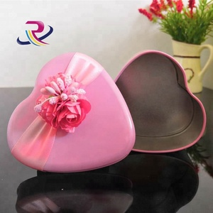 Pink Color Heart Shape Flower Wedding Gift Tin Box