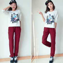 WA7074 Korean woman casual pants loose knit long trousers sports pants