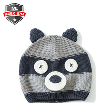 Custom baby outfit photograph props infant newborn baby knitted bear animal pattern crochet beanie hat