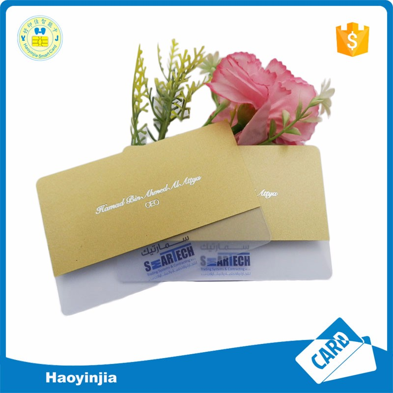 Hot stamping foiling pvc plastic transparent business card