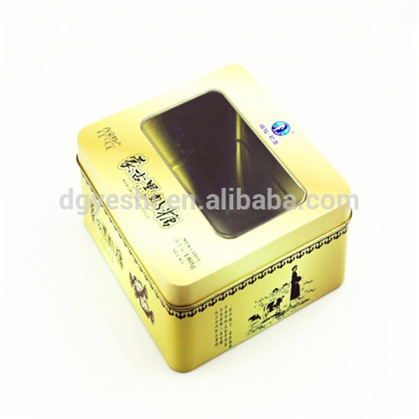 Customized Rectangular Cake Tin Box With Clear Pvc Window