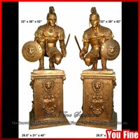 Bronze Roman Soldiers Statues on Pedestals