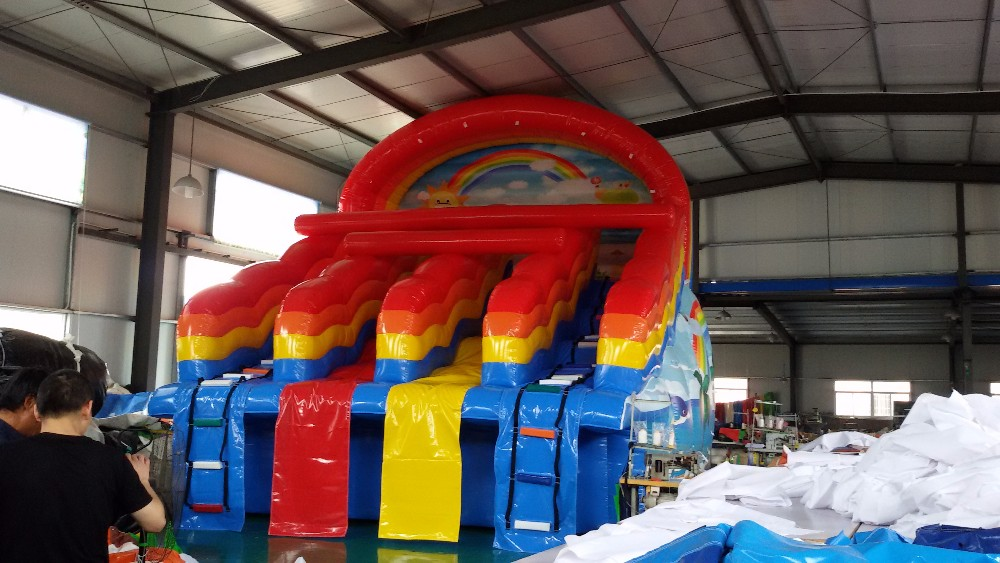 commercial outdoor inflatable rainbow water slide for water park