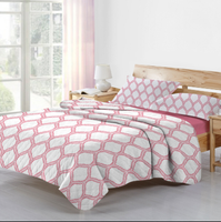pink grid sharp patterns pigment polyester/cotton quilt for home textile, lovely girl bed set