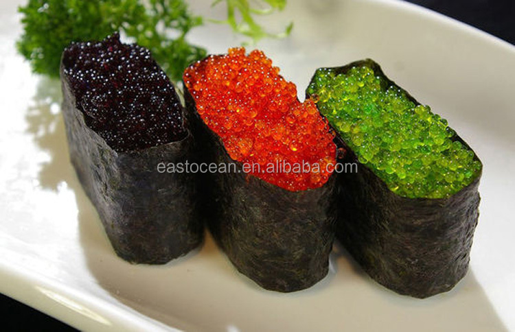 Latest high quality frozen seasoned green flying fish roe for sushi