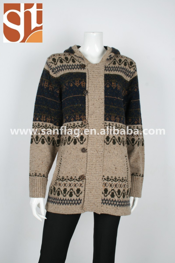 New world products wholesale ladies acrylic wool cardigan hoodie pattern jacquard knitted sweater from alibaba shop