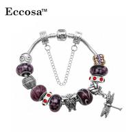 Fashion Wholesale Murano Glass Bead Dragonfly Charm Metal new models bracelets