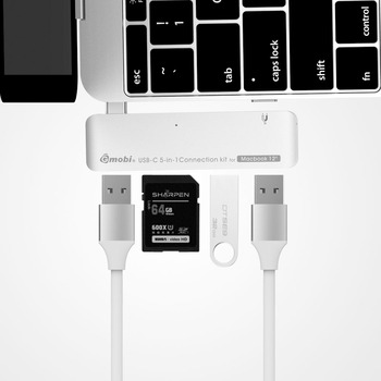 Fashionable 5-in-1 Connection Kit USB 3.1 HUB+Card Reader Made For Macbook 12''/ChromeBook Pixel