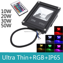 Ultra thin IP65 Waterproof 16 color change 20W RGB LED Flood light with remote control outdoor spot led