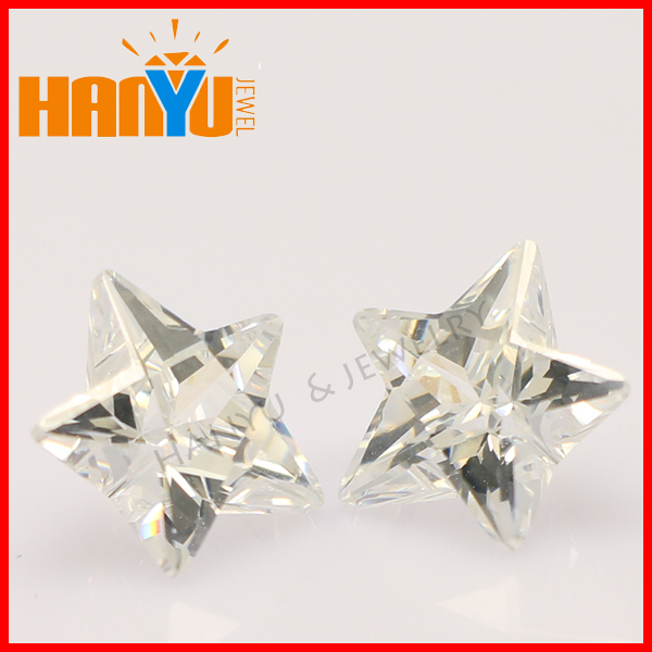 2014 Loose star cut cz stone white zircon with wholesale price