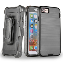 Wholesale kickstand shockproof brushed 3 in 1 belt clip mobile phone case for iPhone 7
