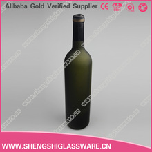 New design bottle of red wine dark green glass wine bottle 750ml with high quality corks