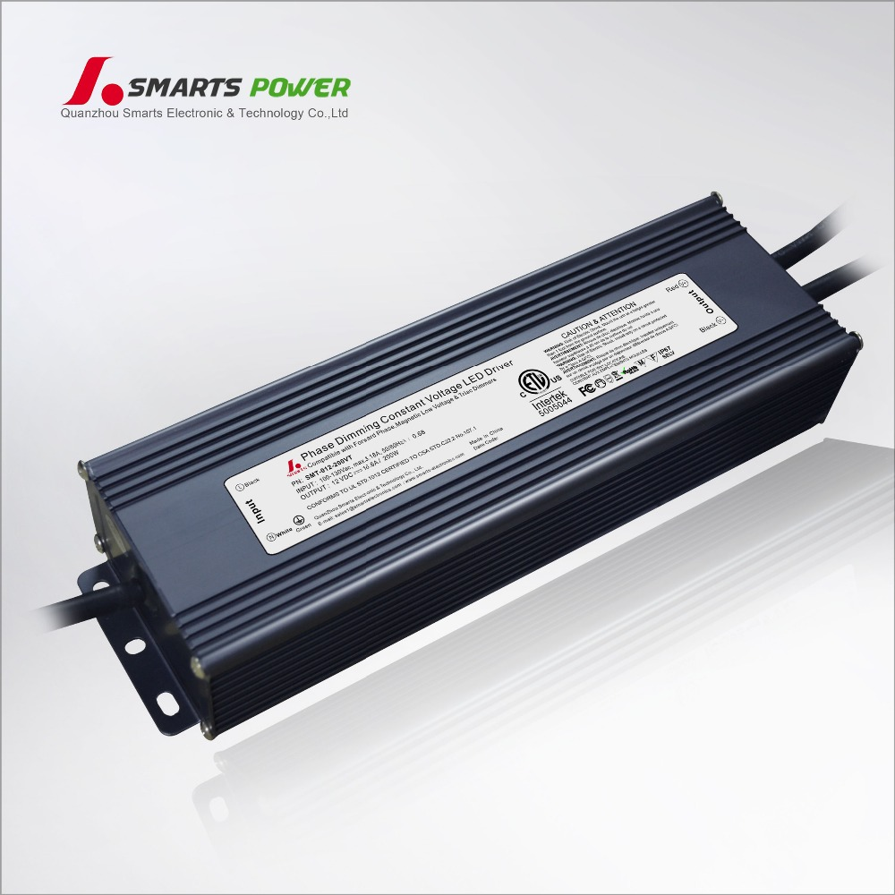 IP67 waterproof electronic transformers 12v 15amp 10amp 200w triac dimmable led strip driver