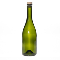 OEM Brand 750ml antique green burgundy glass wine bottle with cork Stopper for Sparkling red wine