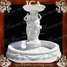 Outdoor pure white large statue stone marble garden fountains round