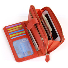 Zipper Lady Clutch Bag Genuine Leather Mobile Wallets Case for iPhone 7