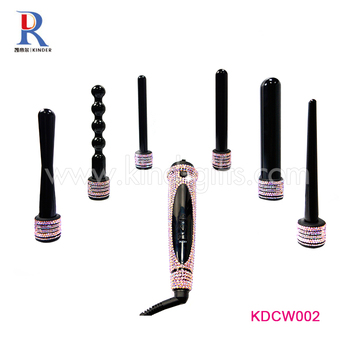 Professional Diamond Studded Interchangeable Ceramic 6 In 1 Curling Wand Hair Straightener, Colorful Crystal Wand Hair Culer