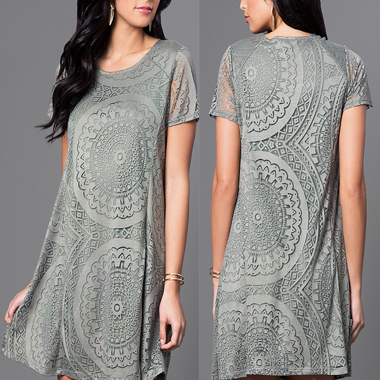 New Fashion lace round neck short shift taobao clothes dubai dress