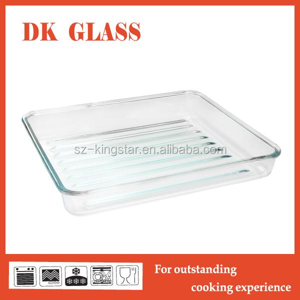 Microwave Oven Safe Big Clear Glass Cooking Pan/Clear Glass Muffin Pan/Frying Pan