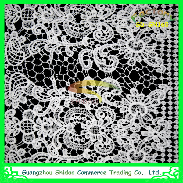 wholesale curtain white cotton embroidery silk lace fabric fashion style for knitted clothes
