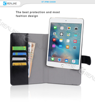 Book style leather tablet case with card slots and cash pocket for ipad mini4 new products