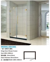 Luxury Hinge Tempered Glass Golden Bath Ass Shower Screens(KD3301)
