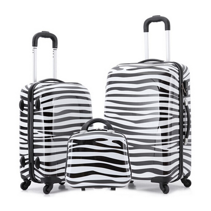 ABS and PC Zebra lines travel bag luggage,trolley luggage sets