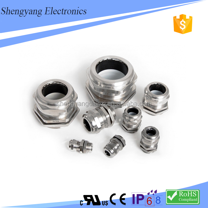 Electrical Silicon Rubber Insert Type Cable Gland with brass lock nuts metric thread type IP68 protection