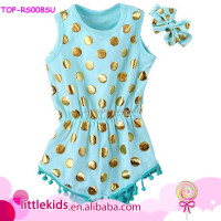 Baby Girls Clothes Romper Onesie Gold Polka Dots Bubble RomperJumpsuit Outfit Set One-pieces Ruffle Boutique Clothing