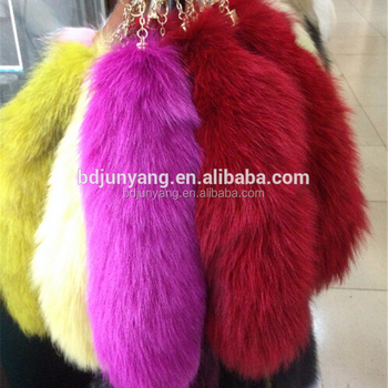 fox fur with fox tail/colorfur fox tail/dyed red tail