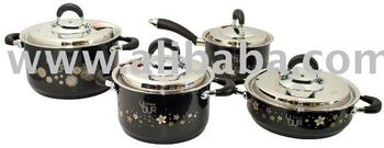 Black Pearl 3D Pattern Engraved Cookware Set