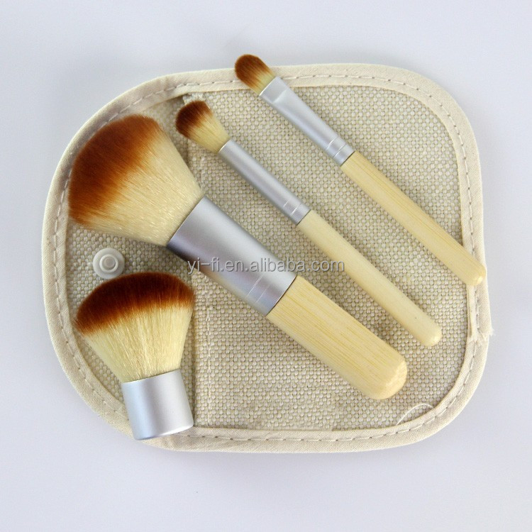 Logo accepted cosmetic travel kit 4pcs bamboo make up brush set