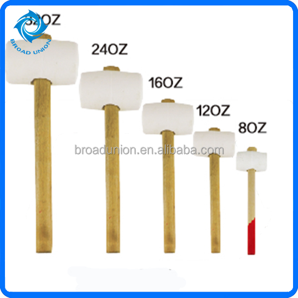 White Rubber Mallet With Wooden Handle