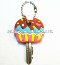 Personalized donut cake shape soft pvc car key covers