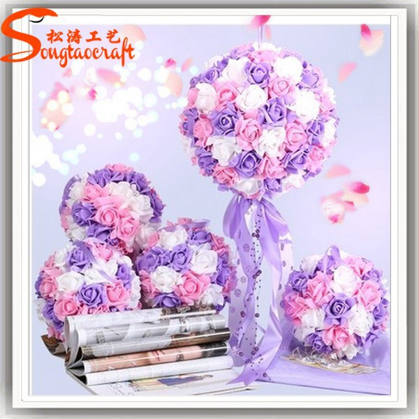 wholesale factory china wall hanging cheap artificial flowers rose artificial flower ball for wedding supplies