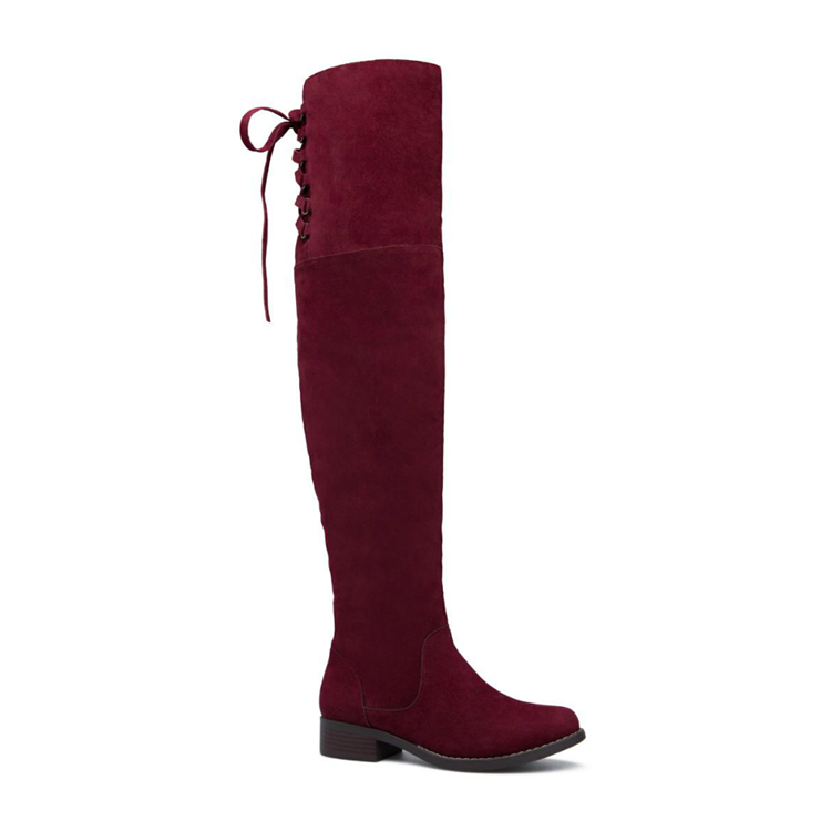 C021 2017 New arrival burgundy boots fashion big size lace up thigh high boots for women