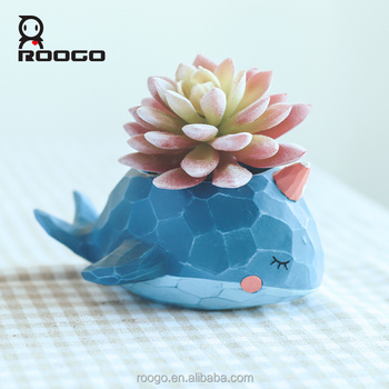 Roogo resin bonsai pots wholesale whale shape flower pots