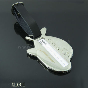 metal air plane shape travel card/ metal luggage accessory tag card
