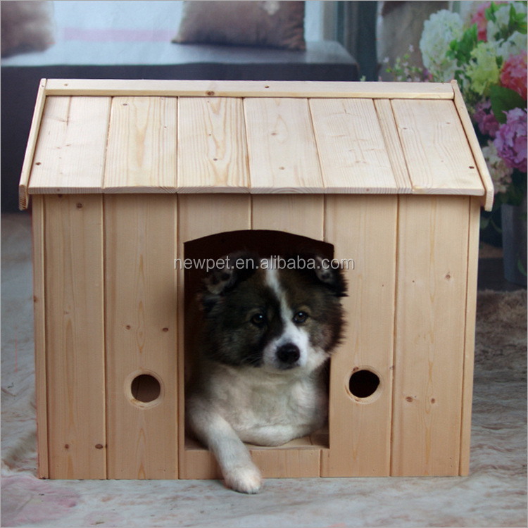Top grade nice grade solid wood pet bed house handmade large wooden dog house
