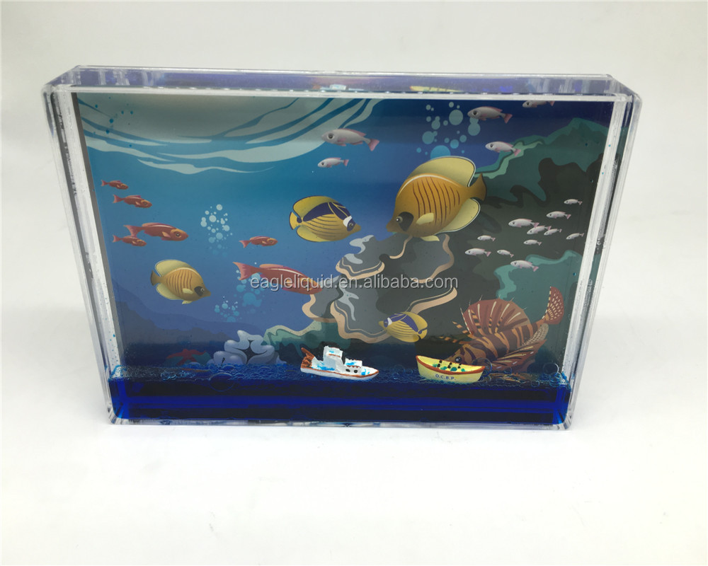 Customized ship filled blue water picture snow ball,funny picture frames