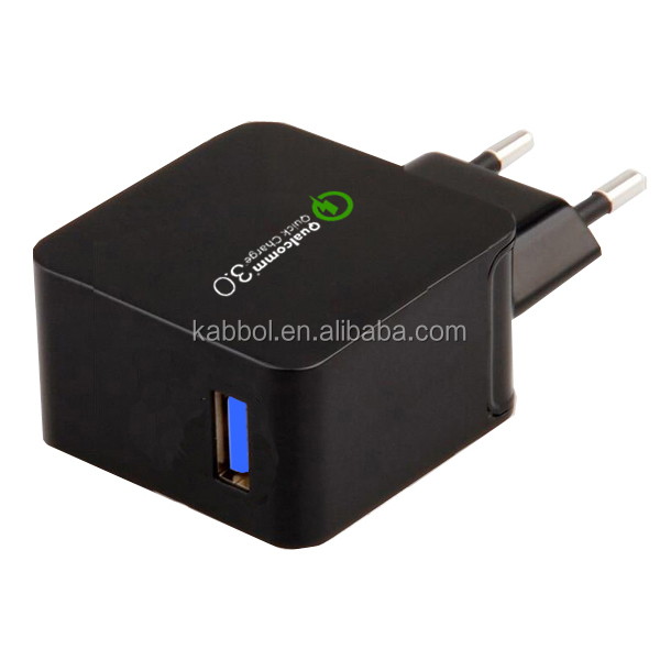 Kabbol 2016 New Qualcomm certified quick charge QC 3.0 home /travel /wall Charger 18W Cargador USB