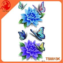 Blue Flower And Beautiful Butterfly 3D Body Waterproof Tattoo,3D Temporary Tattoos,Tattoos Sticker For Hand