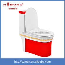 Quality assurance soft touch ceramic one piece red toilet bowl