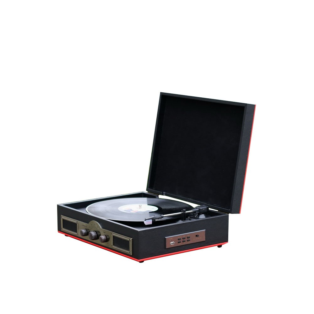Black suitcase turntable with USB SD Decoder and Encoder function 3 speed turntable