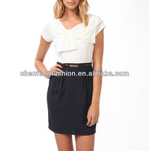 CHEFON Draped pleated white and black women fashion contrast colour dress CF0243