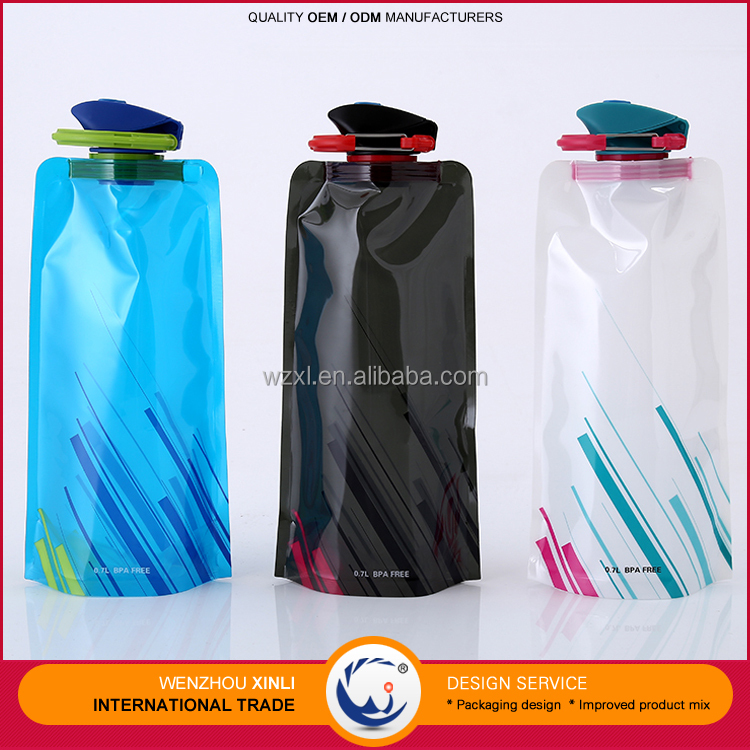 2016 Summer Hot Sale Bpa Free Collapsible Water Bottles Sports Plastic Foldable Water Bottle For Logo Printing