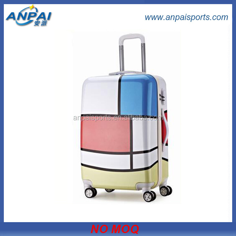 2014 New Design Tower Plane Print Luggage Case, ABS+PC Travel Universal Wheel Student Luggage
