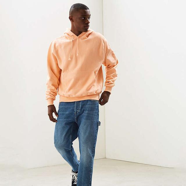 Men's pullover hoodie sweatshirt orange hoodie with chest pocket